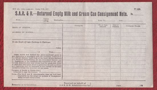 South Africa Railways Consignment Note S  Clinton Goslin